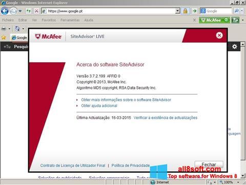 Screenshot McAfee SiteAdvisor Windows 8